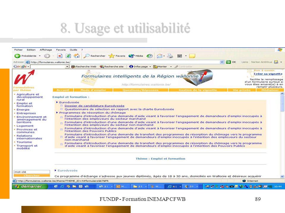 FUNDP - Formation INEMAP CFWB89 8. Usage et utilisabilité