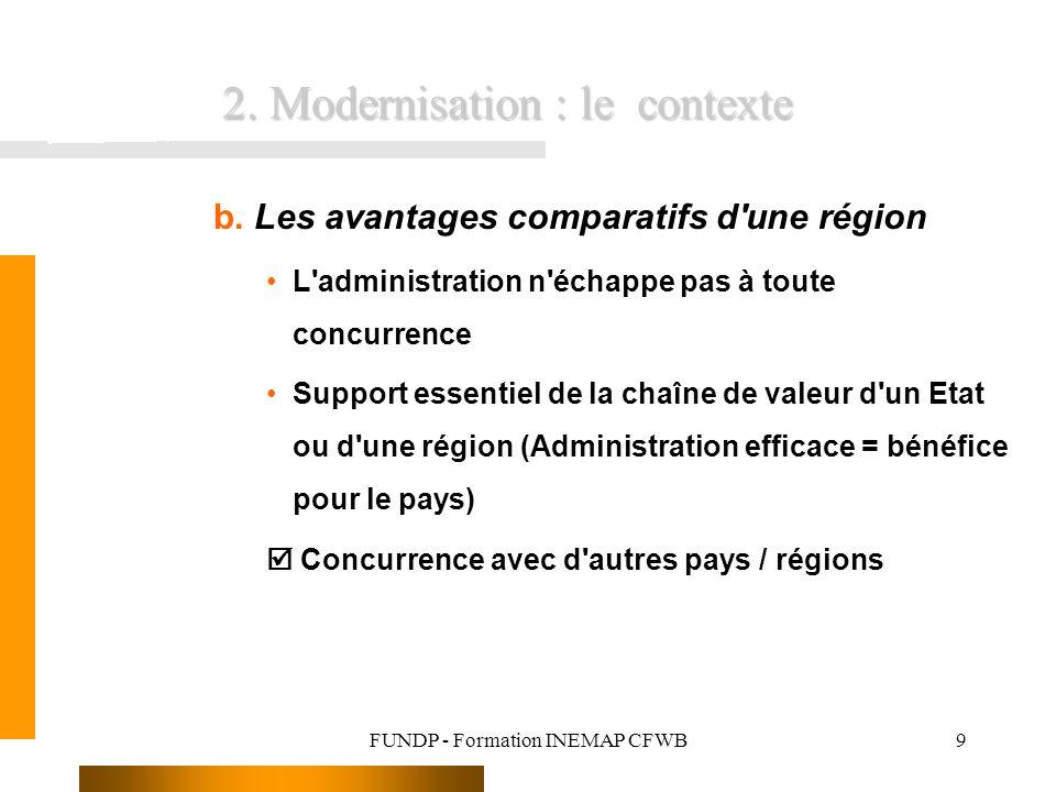 FUNDP - Formation INEMAP CFWB9 b. Les avantages comparatifs d'une région L'administration n'échappe pas à toute concurrence Support essentiel de la ch