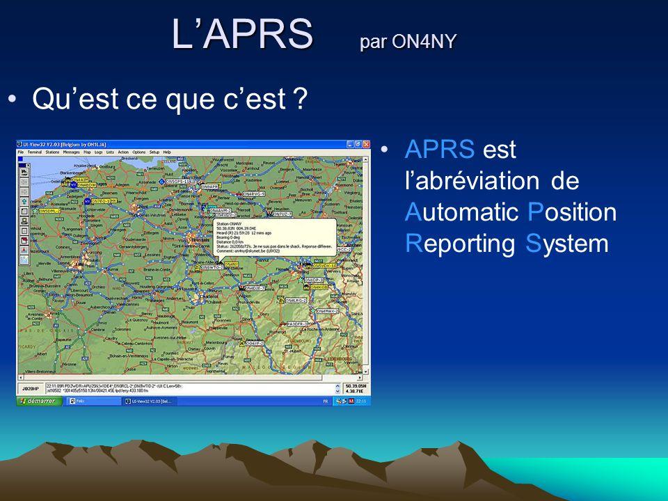 LAPRS par ON4NY Quest ce que cest ? APRS est labréviation de Automatic Position Reporting System