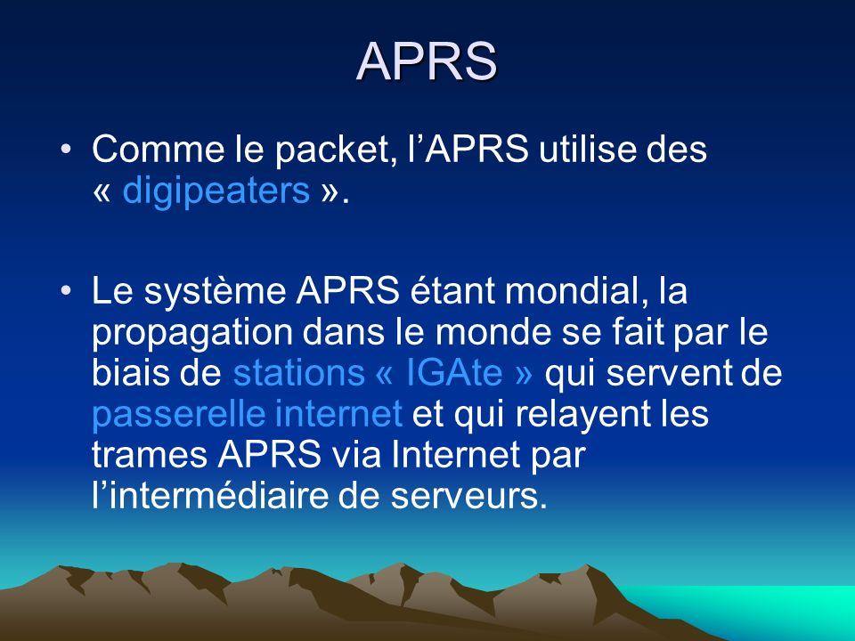 APRS Un point très important qui augmente considérablement lintérêt de lAPRS est que le monde APRS est ouvert virtuellement à tout le monde, radioamateur ou non, puisque nimporte qui peut monitorer les déplacements dune station APRS depuis son PC par le biais dInternet.