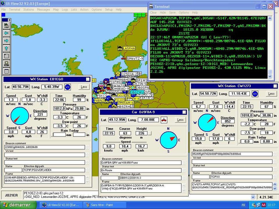 APRS Matériel nécessaire Une station APRS est composée de : –dune radio 2m (144,800 MHz) et son antenne –dun TNC, dun ordinateur et le logiciel APRS –dun GPS si la station est mobile