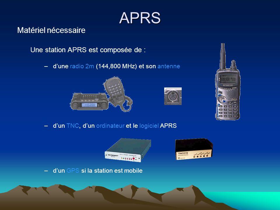 APRS Matériel nécessaire Une station APRS est composée de : –dune radio 2m (144,800 MHz) et son antenne –dun TNC, dun ordinateur et le logiciel APRS –