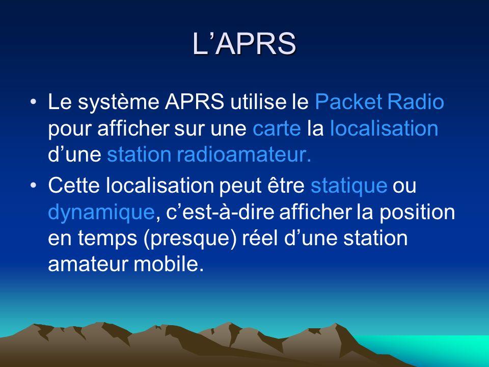 APRS La trame APRS contient la localisation de la station sous forme de : sa latitude sa longitude des informations relatives à la station telles que le QTH le type de station le call etc..
