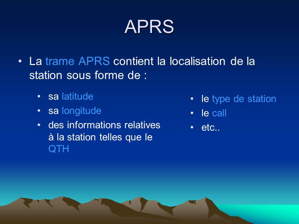 APRS La trame APRS contient la localisation de la station sous forme de : sa latitude sa longitude des informations relatives à la station telles que