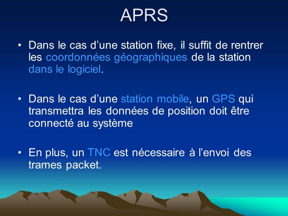 APRS Dans le cas dune station fixe, il suffit de rentrer les coordonnées géographiques de la station dans le logiciel. Dans le cas dune station mobile