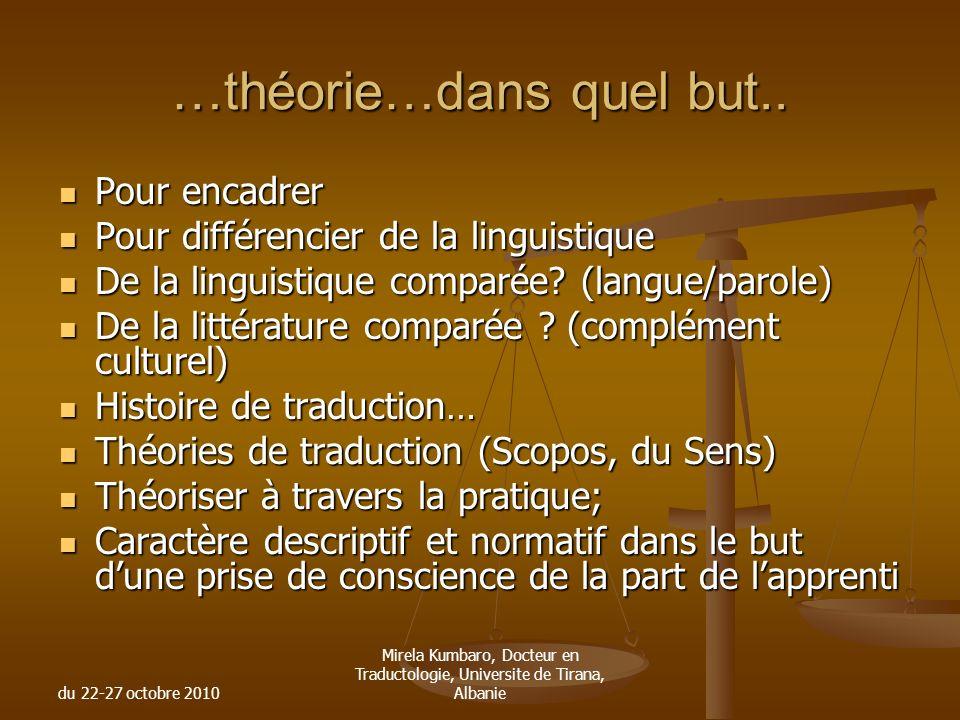 du 22-27 octobre 2010 Mirela Kumbaro, Docteur en Traductologie, Universite de Tirana, Albanie …théorie…dans quel but.. Pour encadrer Pour encadrer Pou