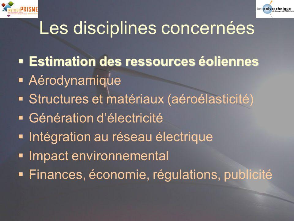 Les disciplines concernées Estimation des ressources éoliennes Estimation des ressources éoliennes Aérodynamique Structures et matériaux (aéroélastici