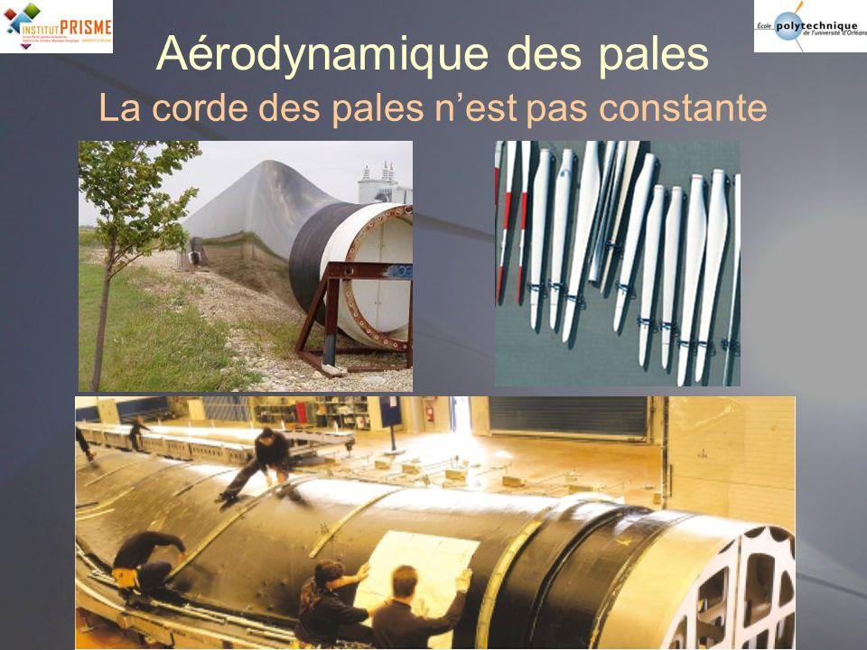 Aérodynamique des pales La corde des pales nest pas constante