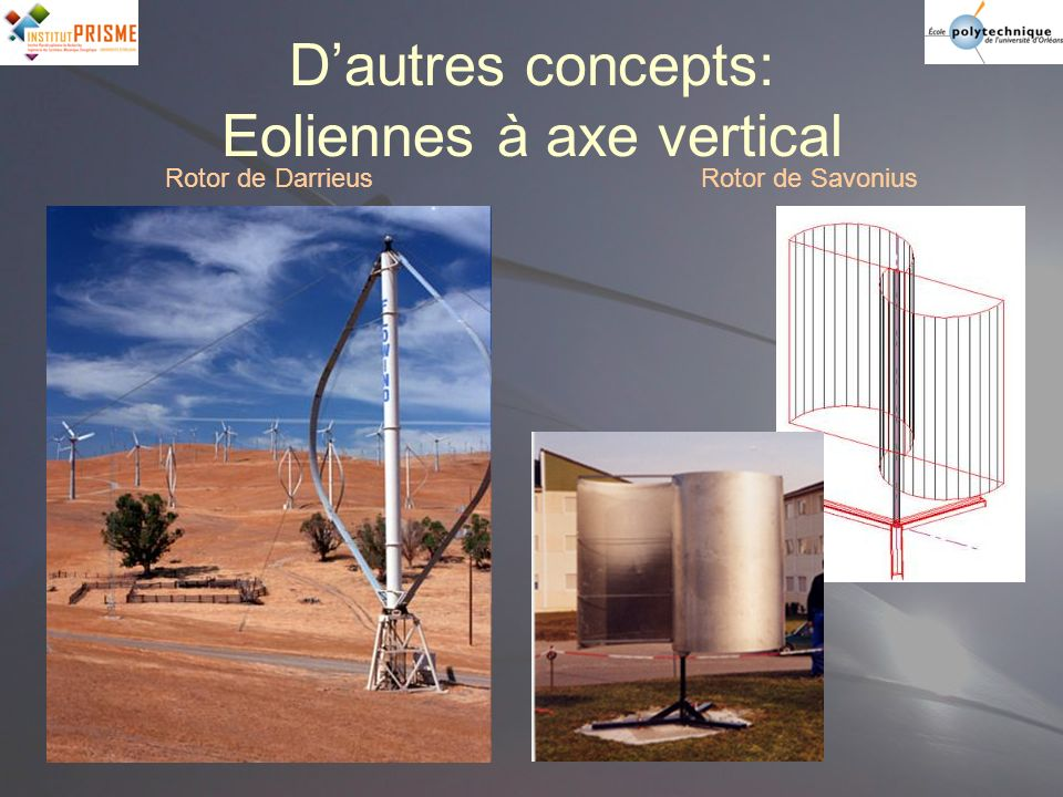 Dautres concepts: Eoliennes à axe vertical Rotor de DarrieusRotor de Savonius