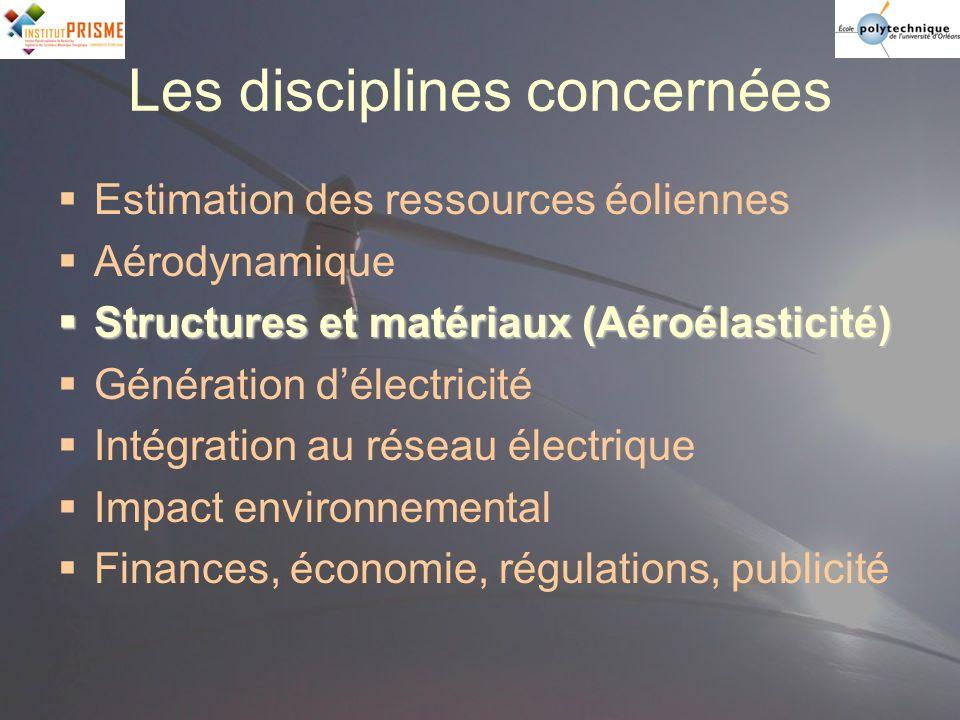 Les disciplines concernées Estimation des ressources éoliennes Aérodynamique Structures et matériaux (Aéroélasticité) Structures et matériaux (Aéroéla