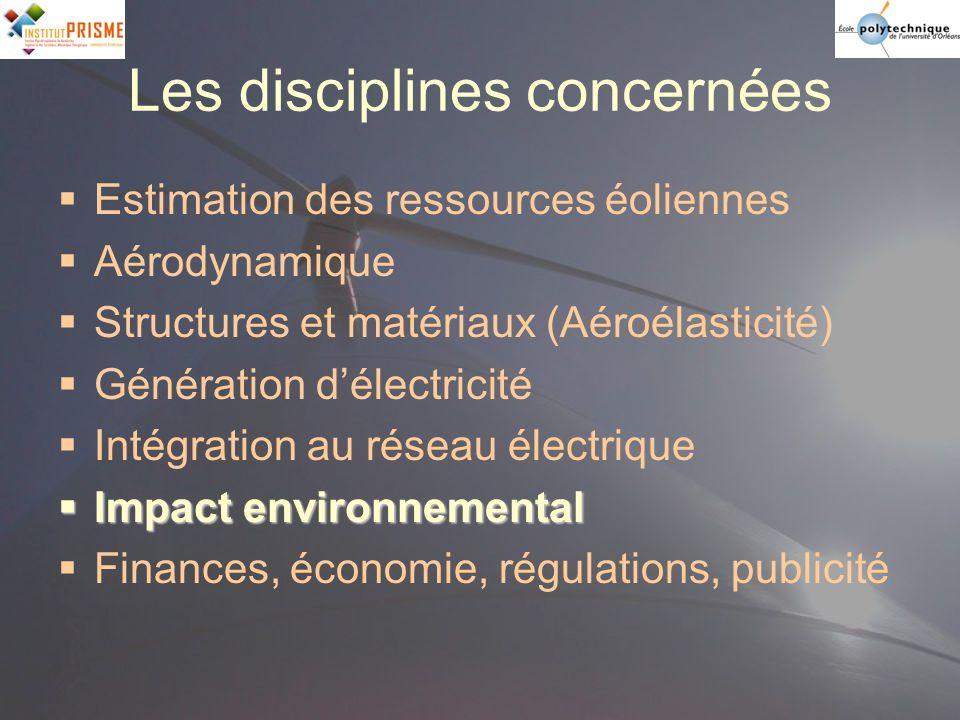 Les disciplines concernées Estimation des ressources éoliennes Aérodynamique Structures et matériaux (Aéroélasticité) Génération délectricité Intégrat
