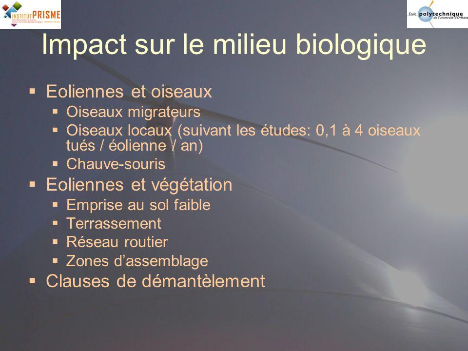 Impact sur le milieu biologique Eoliennes et oiseaux Oiseaux migrateurs Oiseaux locaux (suivant les études: 0,1 à 4 oiseaux tués / éolienne / an) Chau