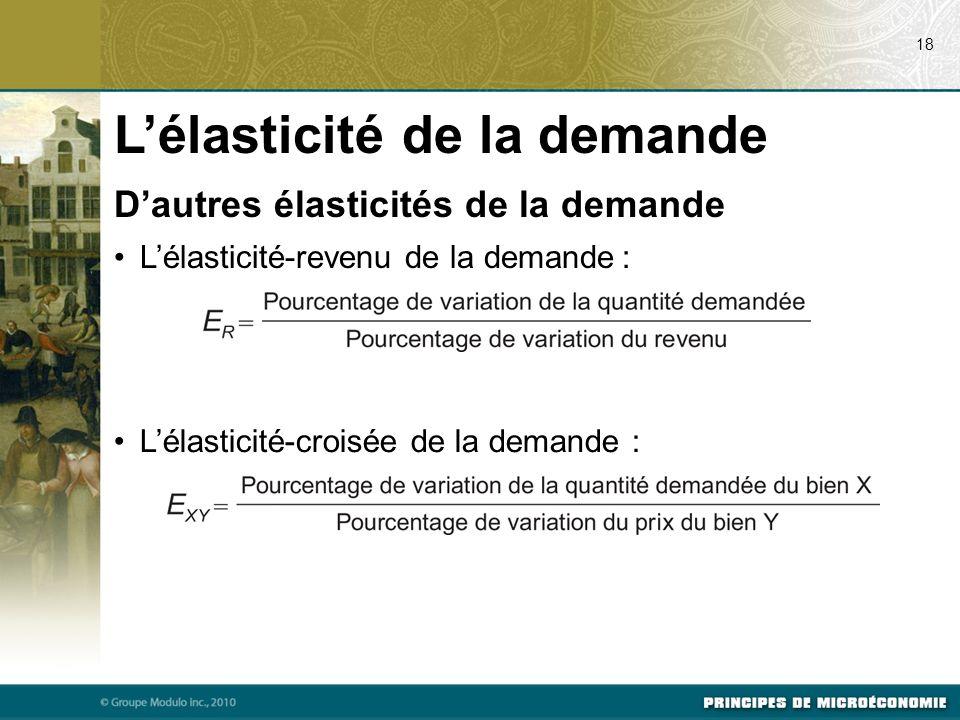 Dautres élasticités de la demande Lélasticité-revenu de la demande : Lélasticité-croisée de la demande : 18 Lélasticité de la demande
