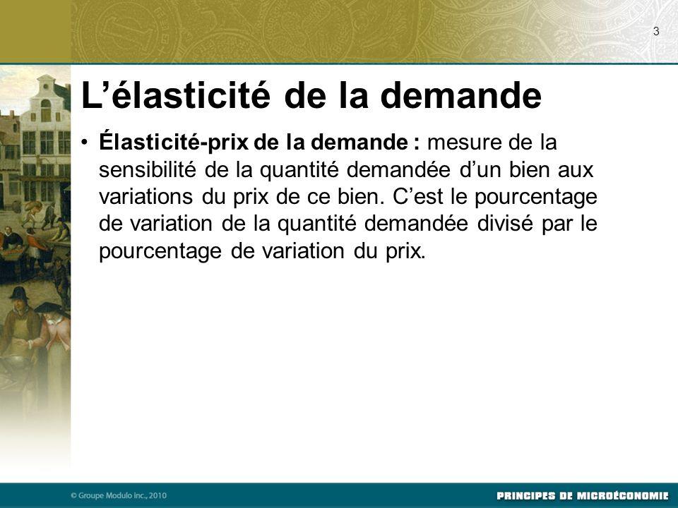 Élasticité-prix de la demande : mesure de la sensibilité de la quantité demandée dun bien aux variations du prix de ce bien. Cest le pourcentage de va