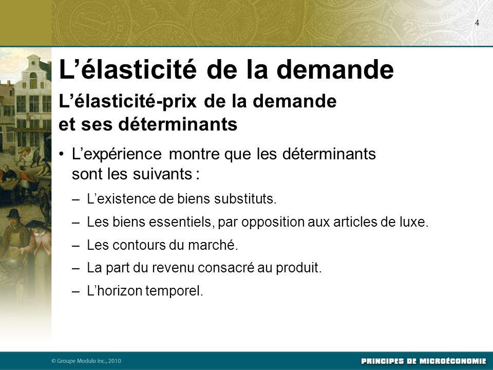 Lélasticité-prix de la demande et ses déterminants Lexpérience montre que les déterminants sont les suivants : –Lexistence de biens substituts. –Les b