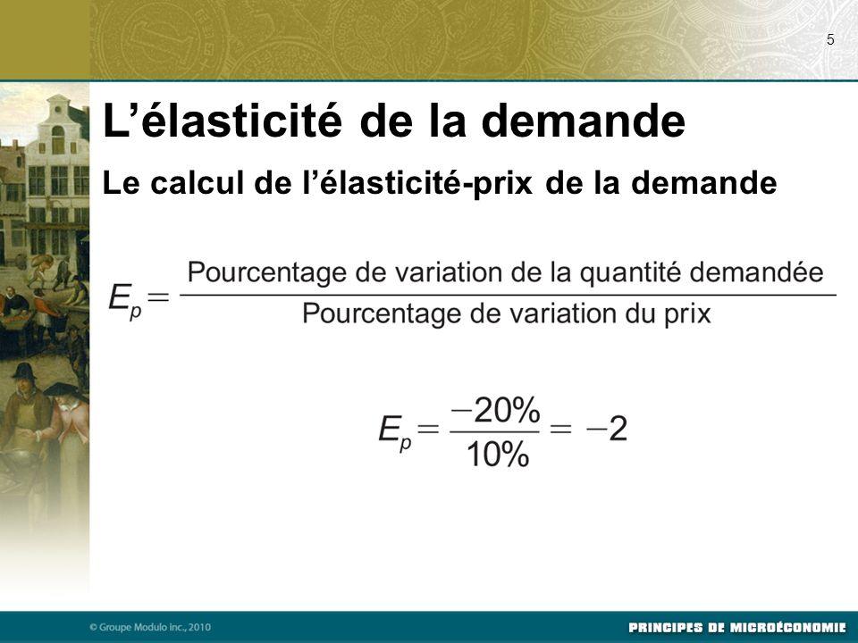 Le calcul de lélasticité-prix de la demande Lélasticité de la demande 5