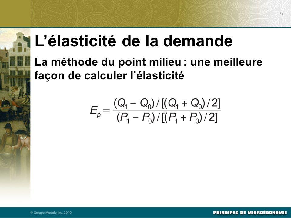La méthode du point milieu : une meilleure façon de calculer lélasticité Lélasticité de la demande 6