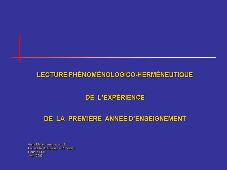 LECTURE PHÉNOMÉNOLOGICO-HERMÉNEUTIQUE DE LEXPÉRIENCE DE LA PREMIÈRE ANNÉE DENSEIGNEMENT Anne Marie Lamarre, Ph. D. Université du Québec à Rimouski Pou