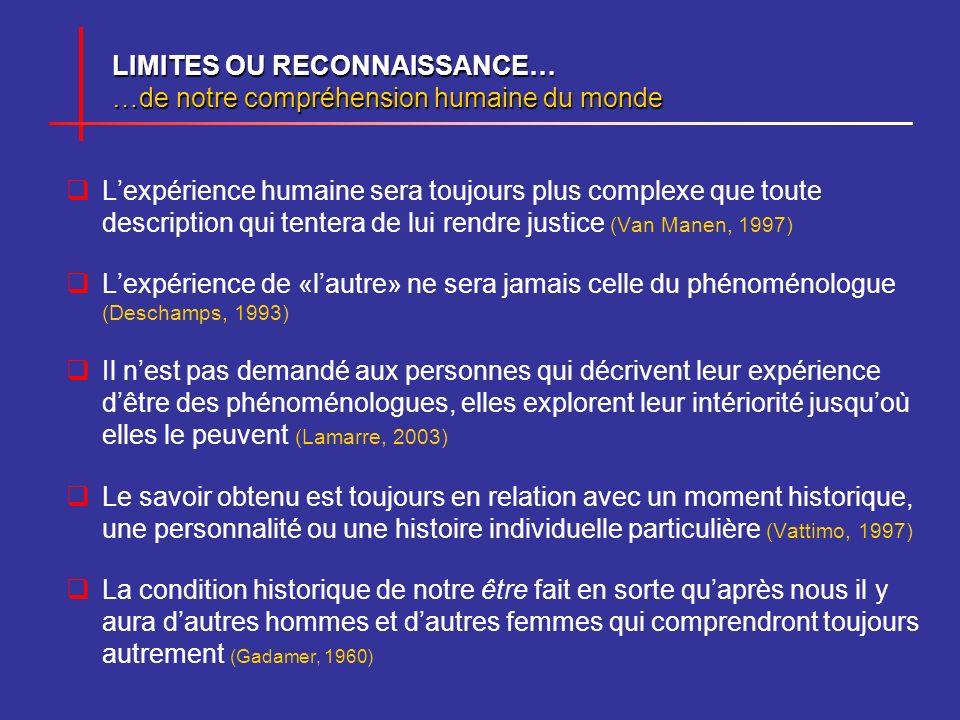 LIMITES OU RECONNAISSANCE… …de notre compréhension humaine du monde Lexpérience humaine sera toujours plus complexe que toute description qui tentera