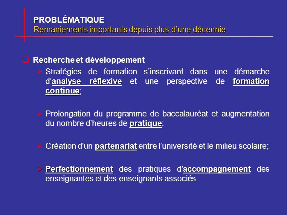 PROBLÉMATIQUE Remaniements importants depuis plus dune décennie Recherche et développement analyse réflexiveformation continue Stratégies de formation