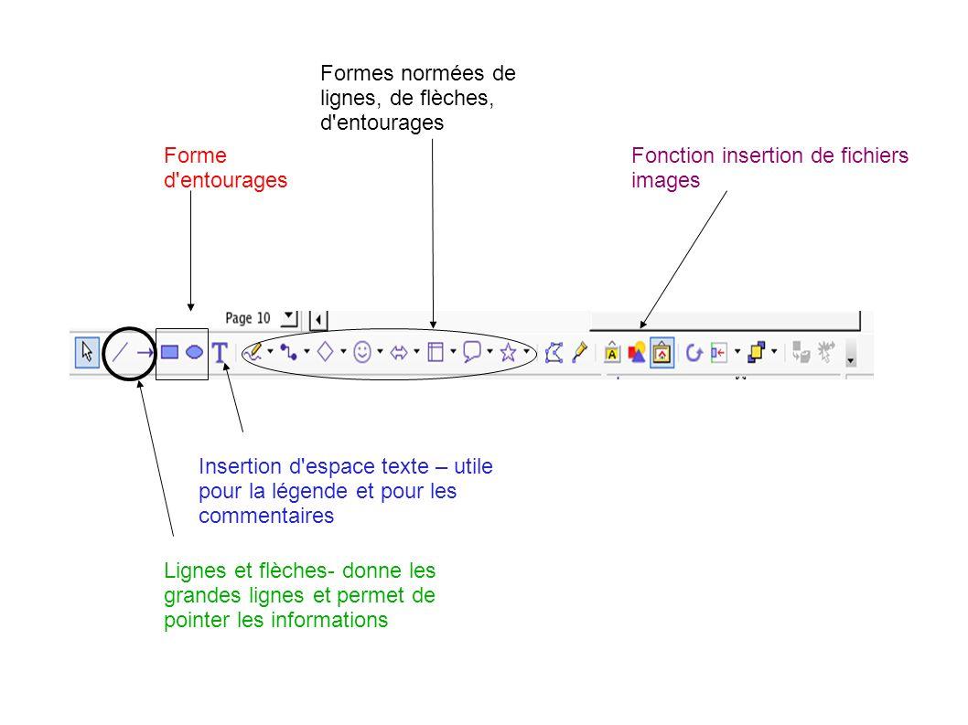 Insertion d'espace texte – utile pour la légende et pour les commentaires Forme d'entourages Lignes et flèches- donne les grandes lignes et permet de