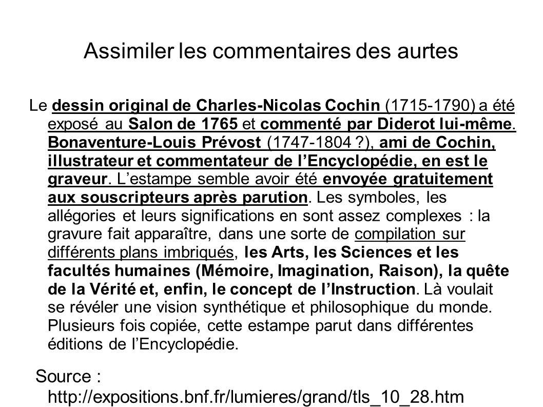 Assimiler les commentaires des aurtes Le dessin original de Charles-Nicolas Cochin (1715-1790) a été exposé au Salon de 1765 et commenté par Diderot l