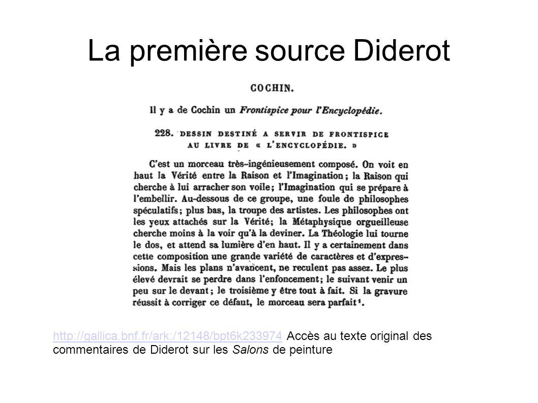 La première source Diderot http://gallica.bnf.fr/ark:/12148/bpt6k233974http://gallica.bnf.fr/ark:/12148/bpt6k233974 Accès au texte original des commen