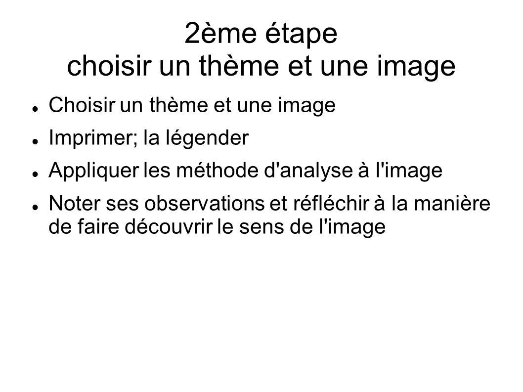 2ème étape choisir un thème et une image Choisir un thème et une image Imprimer; la légender Appliquer les méthode d'analyse à l'image Noter ses obser