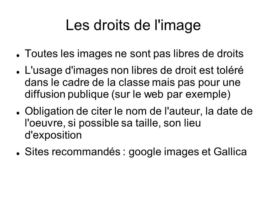 Les droits de l'image Toutes les images ne sont pas libres de droits L'usage d'images non libres de droit est toléré dans le cadre de la classe mais p