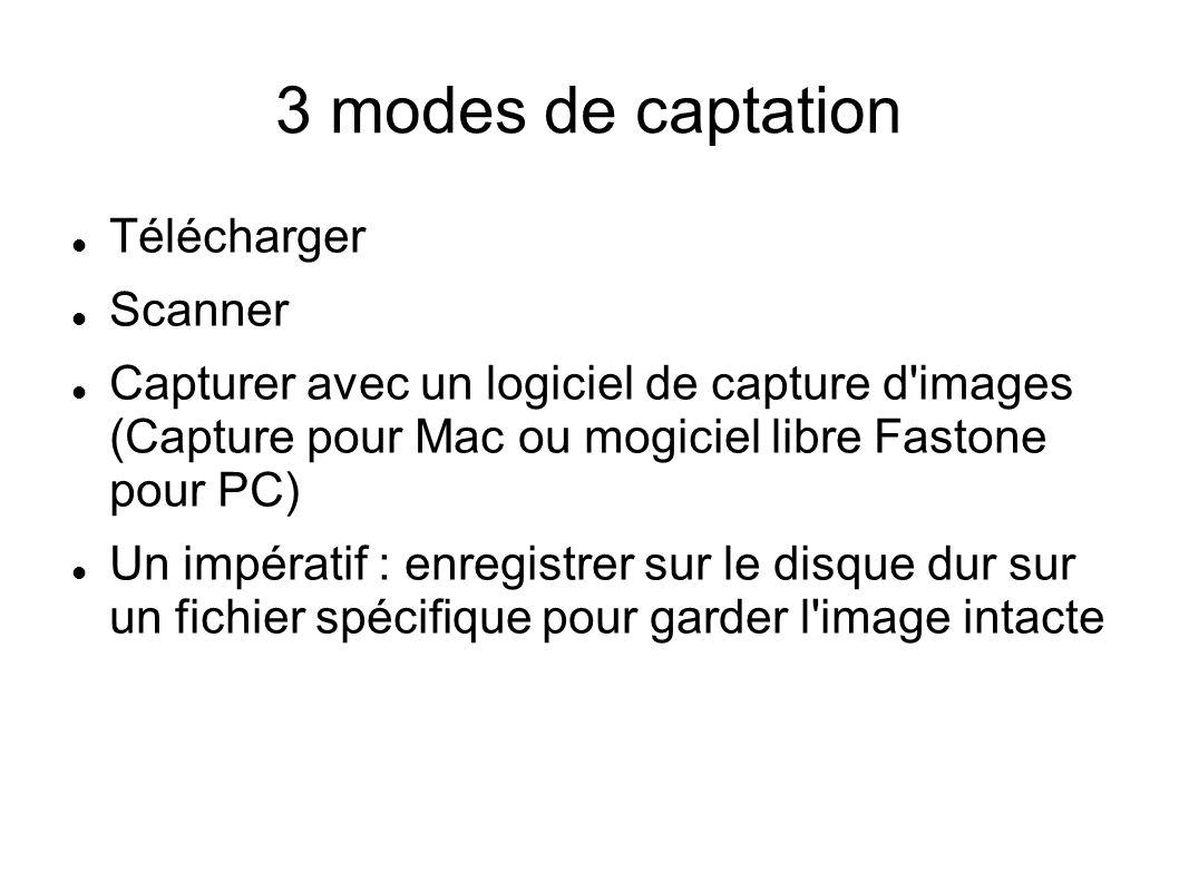 3 modes de captation Télécharger Scanner Capturer avec un logiciel de capture d'images (Capture pour Mac ou mogiciel libre Fastone pour PC) Un impérat
