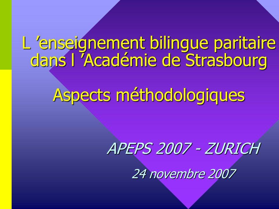 Lenseignement bilingue paritaire dans l Académie de Strasbourg 1.Bref historique 2.Données chiffrées 3.Objectifs et contenus denseignement 4.Principes de fonctionnement 5.Formation des enseignants 6.Bilan et perspectives