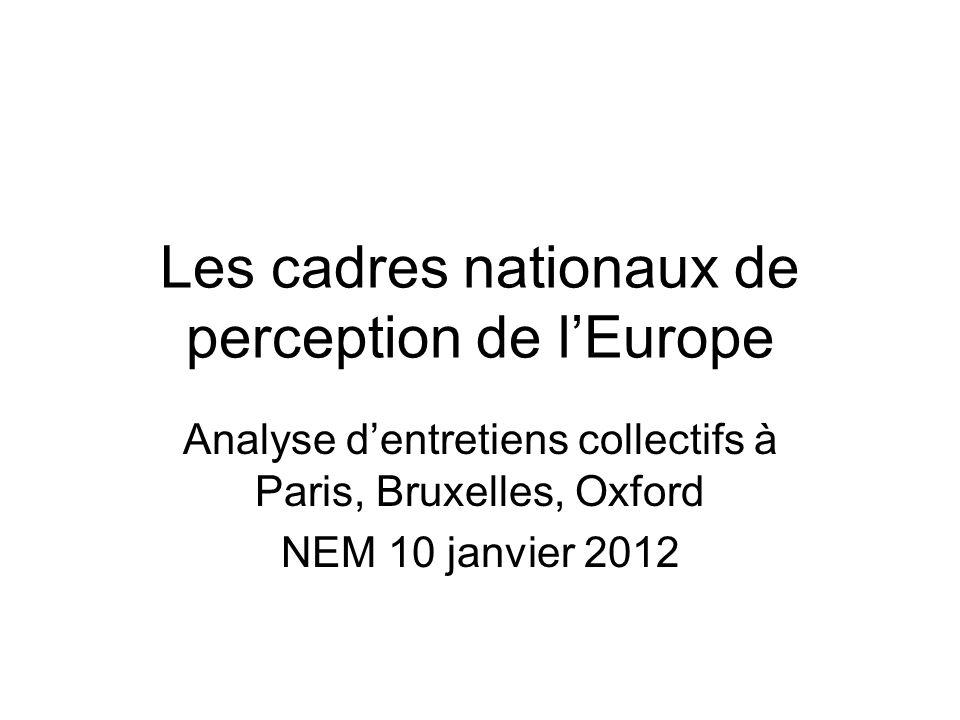Les cadres nationaux de perception de lEurope Analyse dentretiens collectifs à Paris, Bruxelles, Oxford NEM 10 janvier 2012
