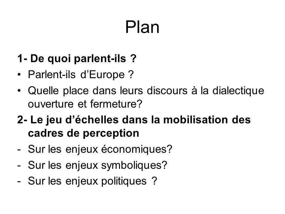 Plan 1- De quoi parlent-ils . Parlent-ils dEurope .