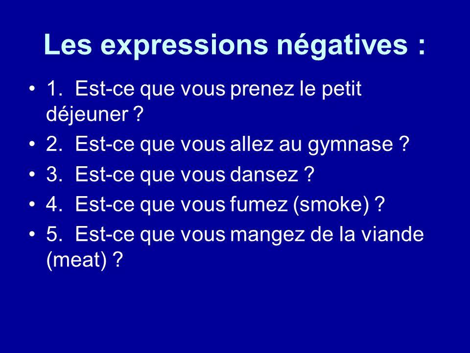 Les expressions négatives : 1. Est-ce que vous prenez le petit déjeuner .