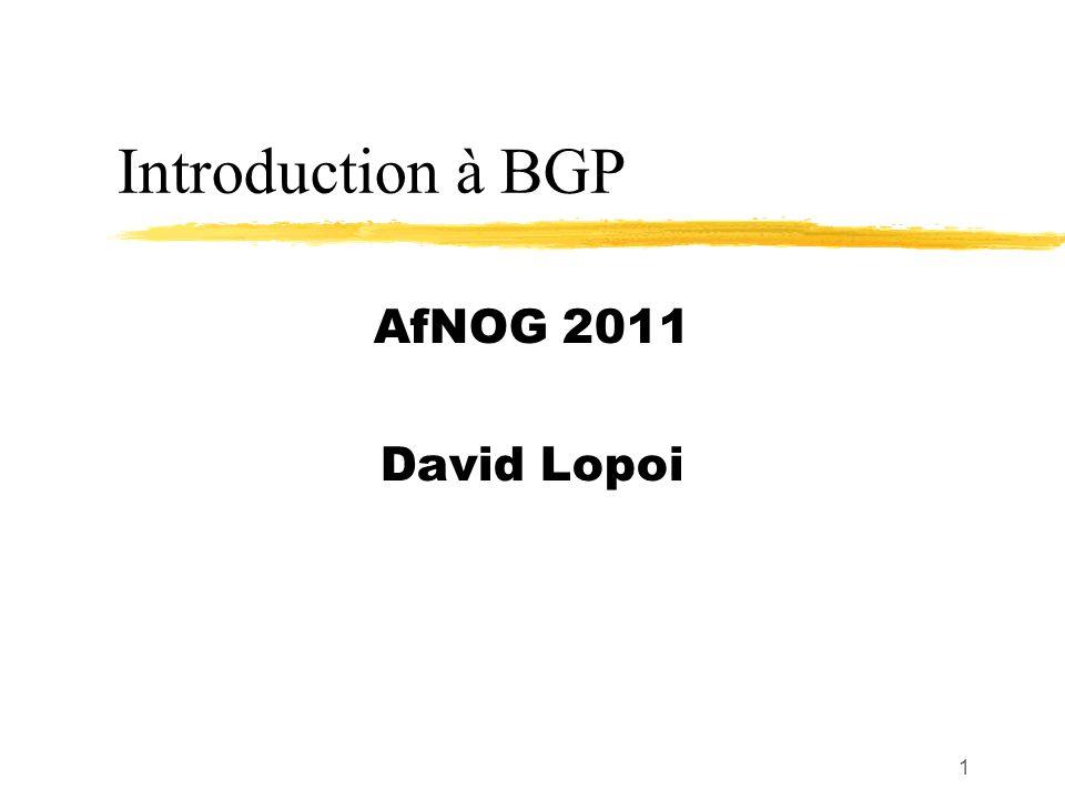 1 Introduction à BGP AfNOG 2011 David Lopoi