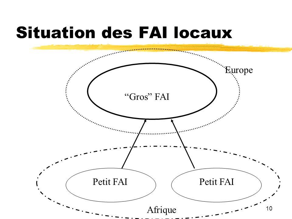 10 Situation des FAI locaux Gros FAI Petit FAI Afrique Europe