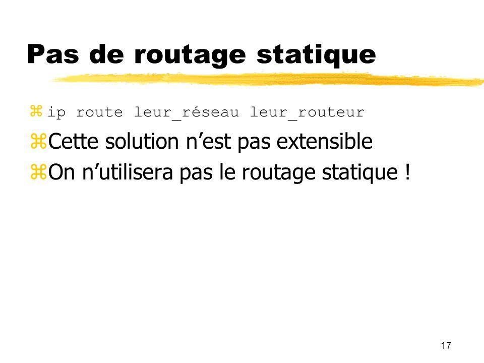 17 Pas de routage statique ip route leur_réseau leur_routeur Cette solution nest pas extensible On nutilisera pas le routage statique !