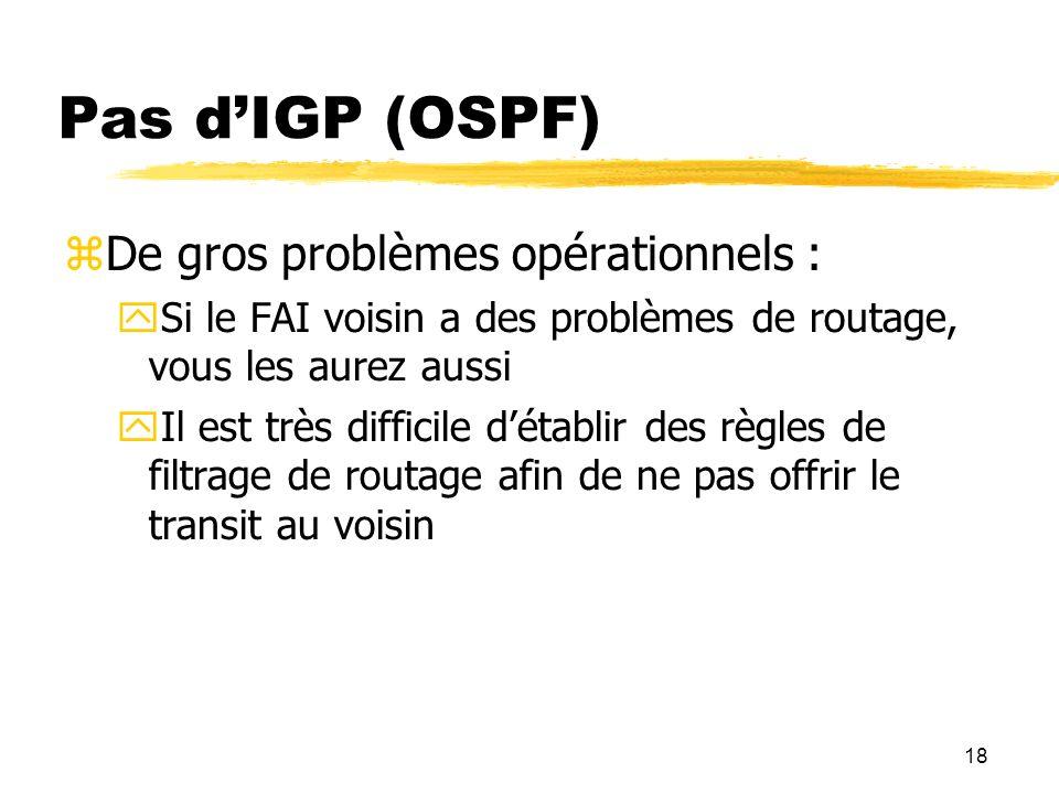 18 Pas dIGP (OSPF) De gros problèmes opérationnels : Si le FAI voisin a des problèmes de routage, vous les aurez aussi Il est très difficile détablir des règles de filtrage de routage afin de ne pas offrir le transit au voisin