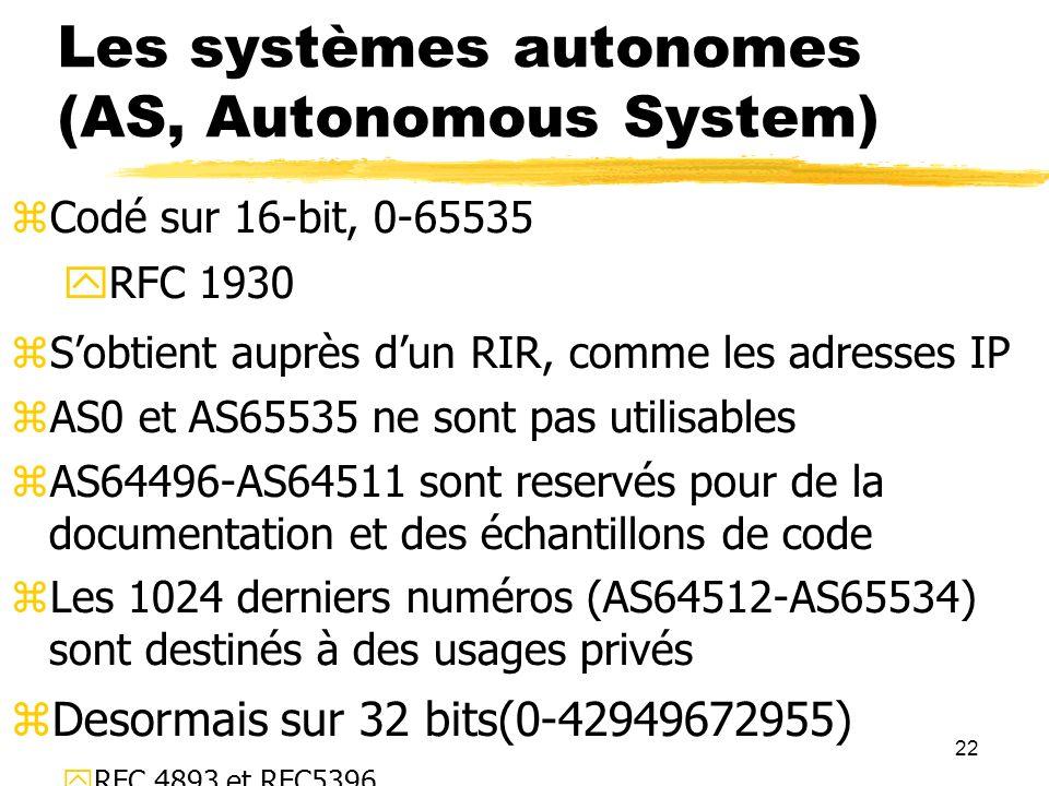 22 Les systèmes autonomes (AS, Autonomous System) Codé sur 16-bit, 0-65535 RFC 1930 Sobtient auprès dun RIR, comme les adresses IP AS0 et AS65535 ne sont pas utilisables AS64496-AS64511 sont reservés pour de la documentation et des échantillons de code Les 1024 derniers numéros (AS64512-AS65534) sont destinés à des usages privés Desormais sur 32 bits(0-42949672955) RFC 4893 et RFC5396