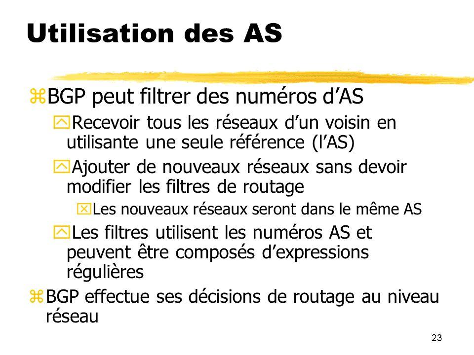 23 Utilisation des AS BGP peut filtrer des numéros dAS Recevoir tous les réseaux dun voisin en utilisante une seule référence (lAS) Ajouter de nouveaux réseaux sans devoir modifier les filtres de routage Les nouveaux réseaux seront dans le même AS Les filtres utilisent les numéros AS et peuvent être composés dexpressions régulières BGP effectue ses décisions de routage au niveau réseau