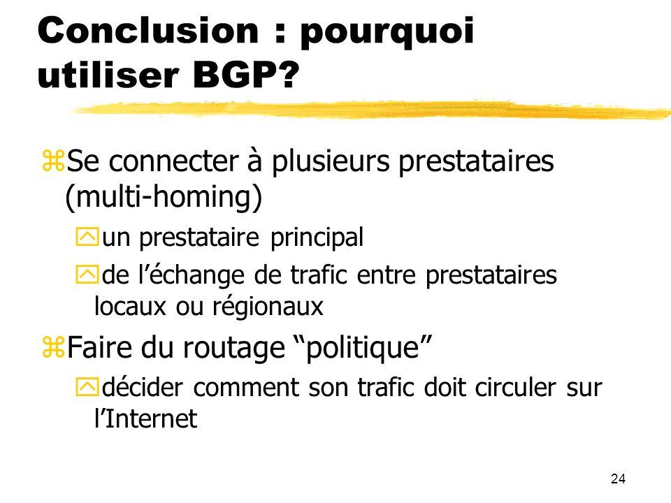 24 Conclusion : pourquoi utiliser BGP.