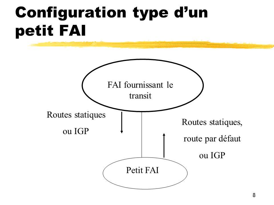 8 Configuration type dun petit FAI FAI fournissant le transit Petit FAI Routes statiques, route par défaut ou IGP Routes statiques ou IGP