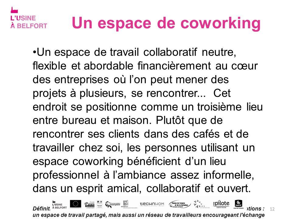 Un espace de coworking Un espace de travail collaboratif neutre, flexible et abordable financièrement au cœur des entreprises où lon peut mener des pr