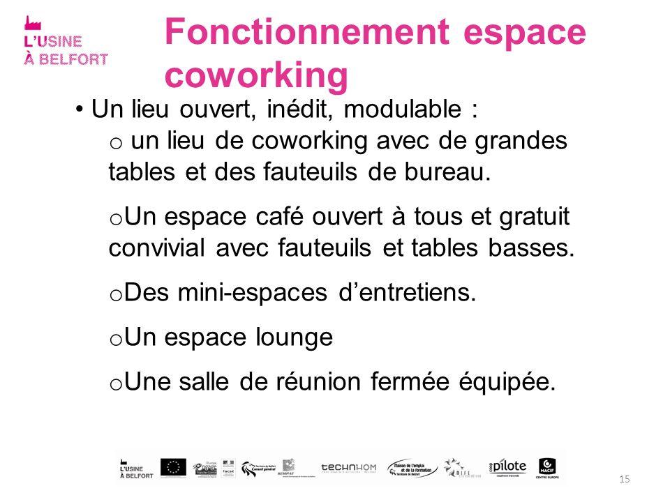Fonctionnement espace coworking Un lieu ouvert, inédit, modulable : o un lieu de coworking avec de grandes tables et des fauteuils de bureau. o Un esp