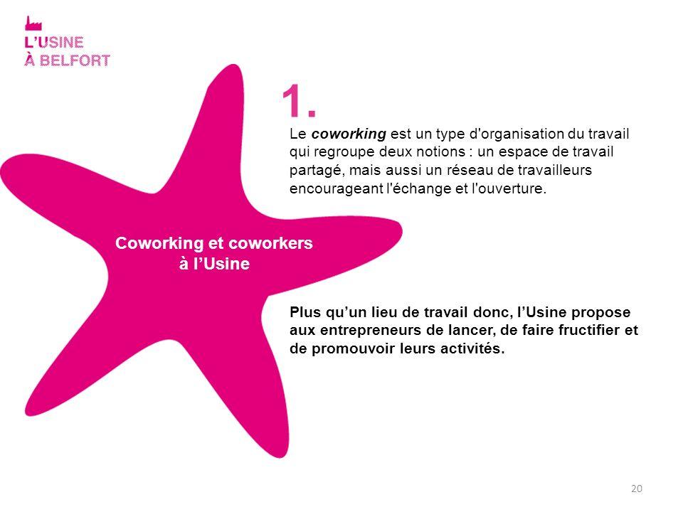 20 Coworking et coworkers à lUsine Le coworking est un type d'organisation du travail qui regroupe deux notions : un espace de travail partagé, mais a