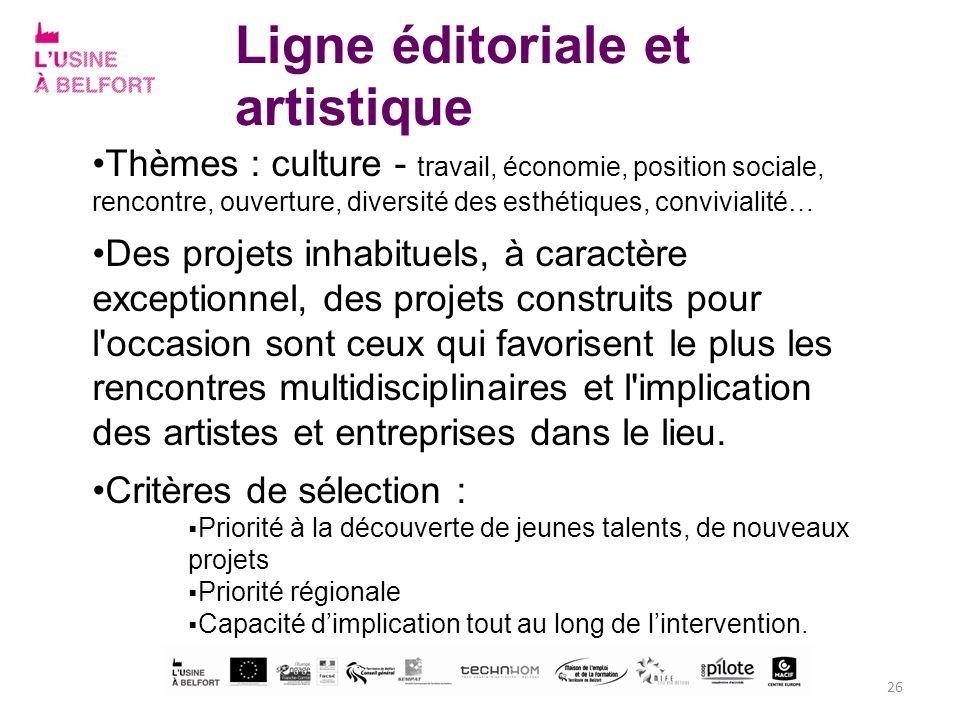Ligne éditoriale et artistique Thèmes : culture - travail, économie, position sociale, rencontre, ouverture, diversité des esthétiques, convivialité…
