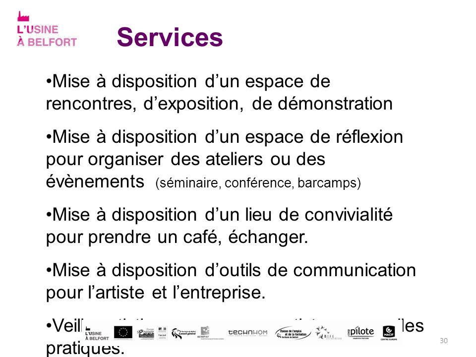 Services Mise à disposition dun espace de rencontres, dexposition, de démonstration Mise à disposition dun espace de réflexion pour organiser des atel