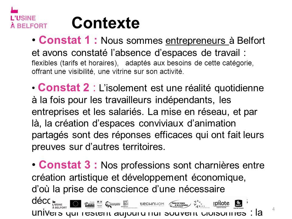 Contexte Constat 1 : Nous sommes entrepreneurs à Belfort et avons constaté labsence despaces de travail : flexibles (tarifs et horaires), adaptés aux