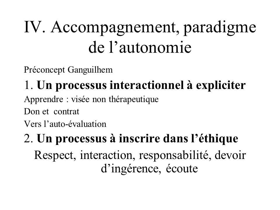 IV.Accompagnement, paradigme de lautonomie Préconcept Ganguilhem 1.