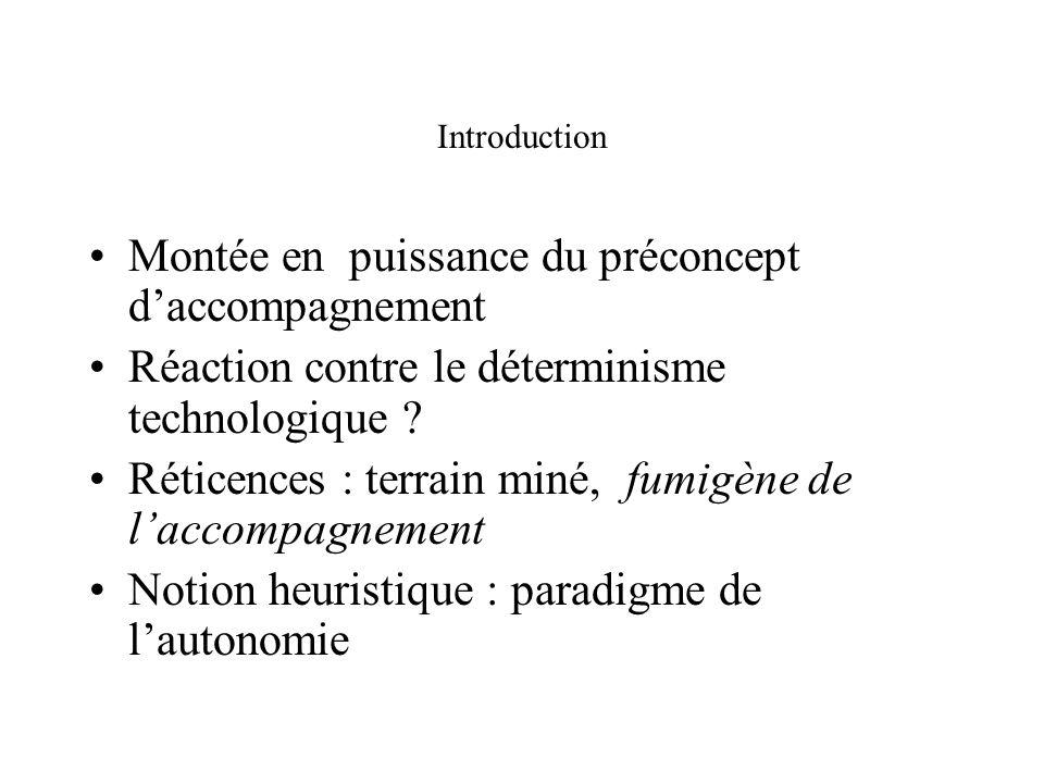 Introduction Montée en puissance du préconcept daccompagnement Réaction contre le déterminisme technologique .